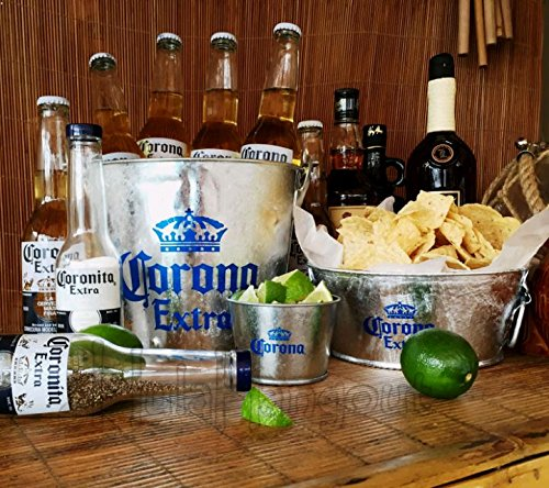 Corona Extra Beer Ice Bucket Gift Set with Salt Pepper Caps Tropical Party Bar Set
