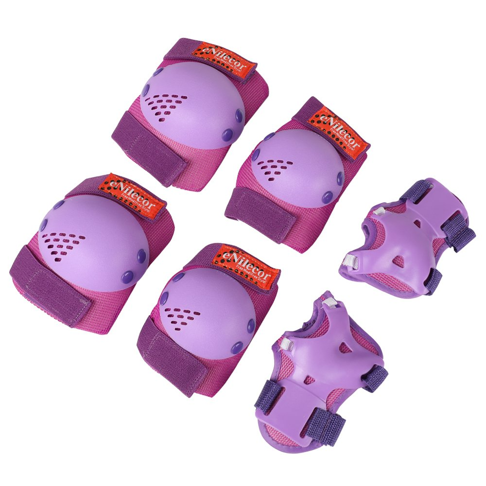 eNilecor Kids Knee Pads, Child Protective Gear Set, Toddler Knee Elbow Pads Wrist Guards for Skateboarding Inline Cycling Roller, Rollerblade, Skates, Skateboards,Scooters(Purple, Small)
