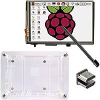 """KOOKYE - visualización táctil LCD de 3,5"""" con lápiz Capacitivo para Raspberry Pi 3 2 Modelo B (3,5HDMI LCD y Funda)"""