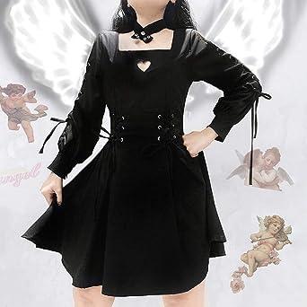 FRAUIT damska sukienka z długim rękawem w stylu gotyckim, kostium Cosplay, wersja z serii Diablo, sukienka dla kobiet z wiszącą sukienką z wiązaniem na karku, spÓdnica marszczona, japoń