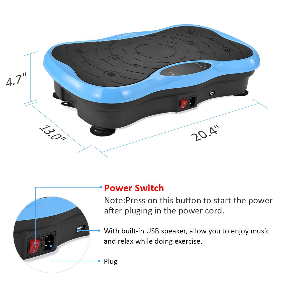 iDeer Vibration Platform Fitness Vibration Plates,Whole Body Vibration Exercise Machine w/Remote Control &Bands,Anti-Slip Fit Massage Workout Vibration Trainer Max User Weight 330lbs (Blue09004) by IDEER LIFE (Image #2)