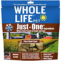 Whole Life Pet Single Ingredient Usa Freeze Dried Beef Liver Treats Value Pack For Dogs & Cats, 18 Oz