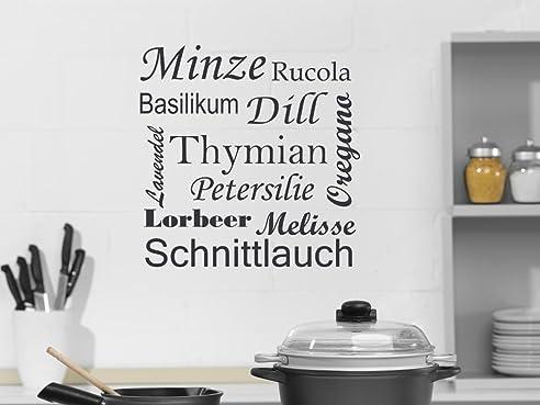 Wandtattoo Wandaufkleber Spruch Kräuter und Gewürze Deko für Küche ...