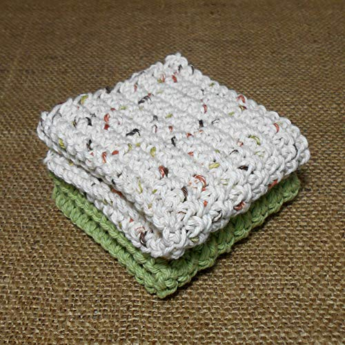 Crochet Cotton Dishcloth Washcloth, Shades of Green Brown Tan, Set of 2