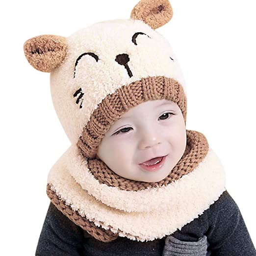 f269b02429283 Moonper Winter Warm 2Pcs Set for Newborn Kids Baby Boy Girl Cartoon Knit  Crochet Beanie Hat +Scarf 6-24 Months