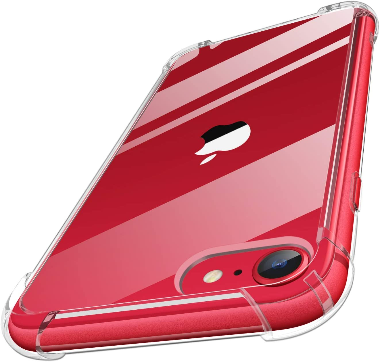 MoKo Funda Compatible con Nuevo iPhone SE 2020 Funda/iPhone 8 Funda/iPhone 7 Funda, Choque-Absorbente Anti-Rasguño Cubierta Trasera para iPhone SE / 8/7, Cristal Claro