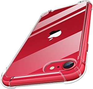 MoKo Compatible with New iPhone SE 2020 Case / iPhone 8 Case / iPhone 7 Case, Clear Reinforced Corners TPU Bumper + Anti-Scratch Transparent Hard Panel Cover Fit Apple iPhone SE / 8 / 7, Crystal Clear