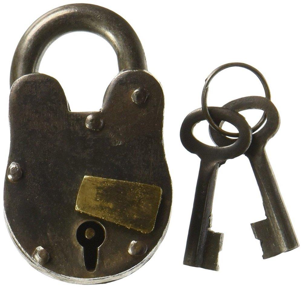 Cast Iron Lock with 2 keys Antique replica with working mechanism 1'' x 3'' Treasure Pirate Padlock