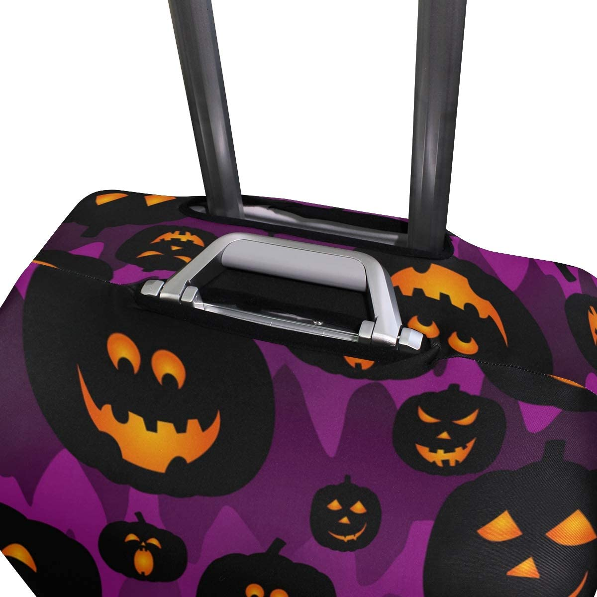 Halloween Pumpkin Travel Luggage Cover Stretchable Polyester Suitcase Protector Fits 18-20 Inches Luggage