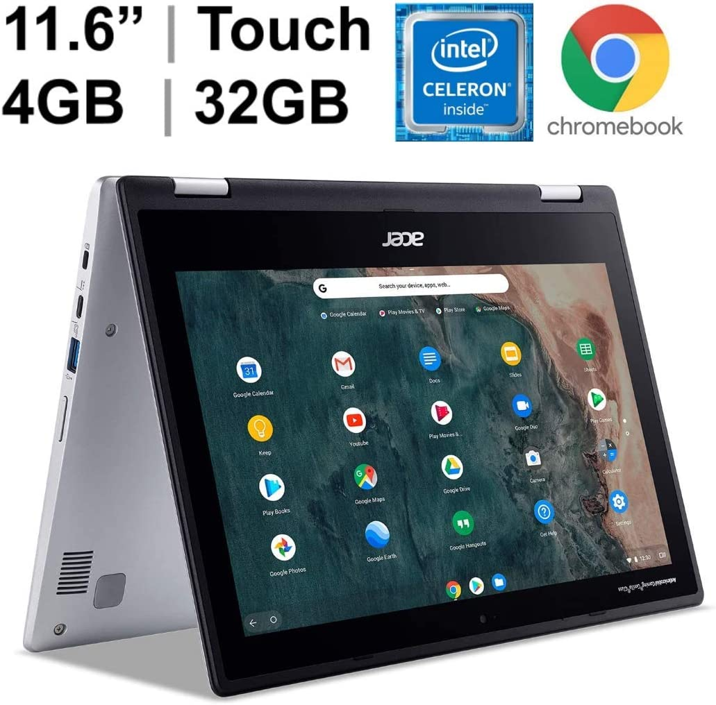 "2020 New Acer Spin 311 2-in-1 11.6"" IPS Touch-Screen Convertible Chromebook, Intel Celeron N4020, 4GB Memory, 32GB eMMC + Oydisen 32GB SD Card, WiFi, Webcam, Chrome OS, Silver (Google Classroom Ready)"