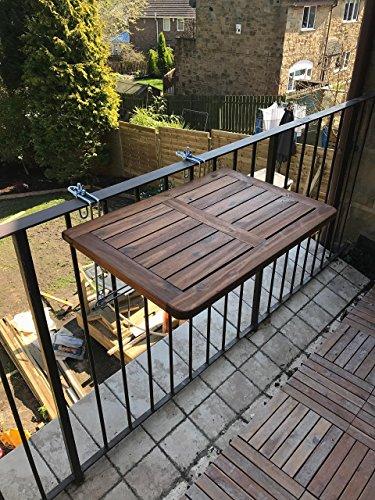 Click Deck, tavolo pieghevole da balcone, in legno massiccio, da ...