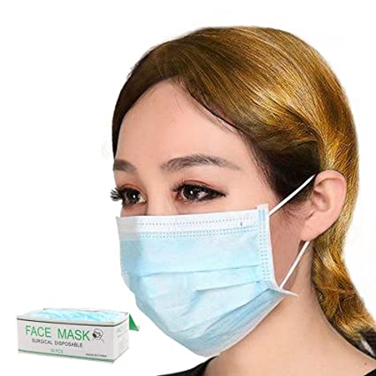 Ear Dust Layer Cover Mask 50 Pawaca Face Mouth Filter Non-woven Disposable Fabric Color Pcs Loop 3 White Surgical