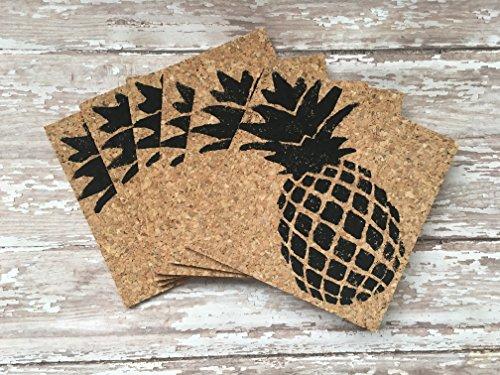 Hawaiian Pineapple Cork Drink Coaster Set, 6
