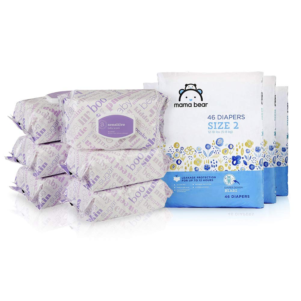 Amazon Brand Size 2 Bundle & Save (15%) - Mama Bear Size 2 Diapers, Bears Print (4 Packs of 46) andAmazon Elements Baby Wipes, Sensitive (6 Flip-Top Packs of 80)