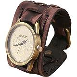Fulltime (TM) Hommes New Style Retro Punk Rock Brown Big Large Bracelet en cuir Montre-bracelet