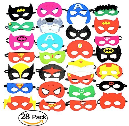 28 Pack Superhero Party Masks Favors Felt Mask- Party Supplies, Dress up, Birthday Party, Children's Masks, Pretend Play, Unisex masks for Children Aged 3+