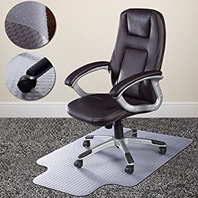 "PVC Chair Mat for Carpet to 1/2"", 48""x36"", Rectangular with Lip, Clear by ShopShip. Mat for Office Chair, Floor Mat for Office Chair for Carpet"