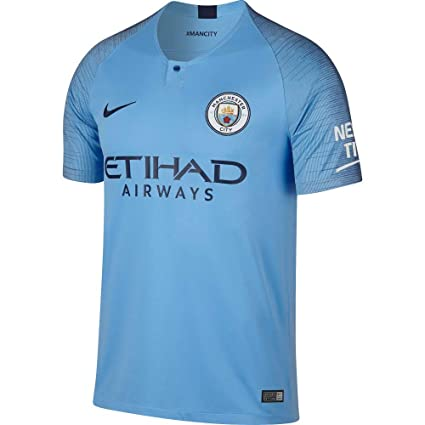 070666c17bb Amazon.com : Nike 2018-2019 Man City Home Football Soccer T-Shirt ...