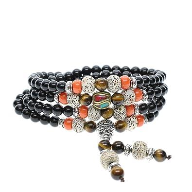 COAI® Multilayer Tibetan Tiger Eye,Obsidian Mala Bead Prayer Wrap Bracelet