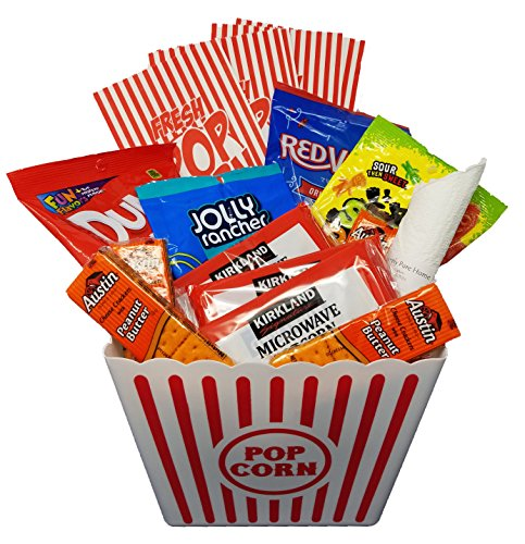 Movie Night Snack Basket with Popcorn, Jolly Rancher Chews, DumDums, Red Vines, Sour Patch Kids, Crackers, Popcorn Bags and Basket