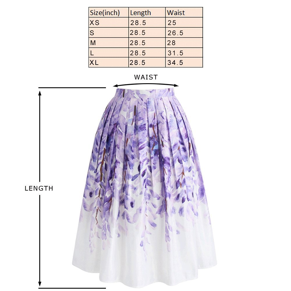 35d7e6cc77 Chicwish Women's Floral Secnery Printed High Waist A-line Midi Pleated Skirt  at Amazon Women's Clothing store: