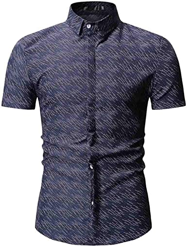 Men Business Shirt Summer Turn-Down Collar Slim Fit Short Sleeve Top Shirt Blouse Men Casual Shirt