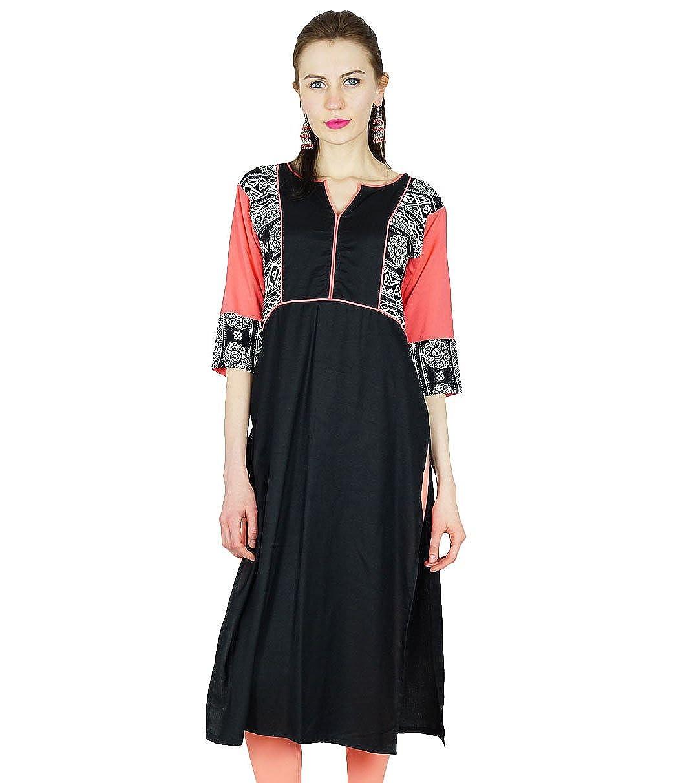 Bimba Frauen-Lange Kurta Kurti Ethnische Indischen Tunika Bluse Formal Lässige Kleidung
