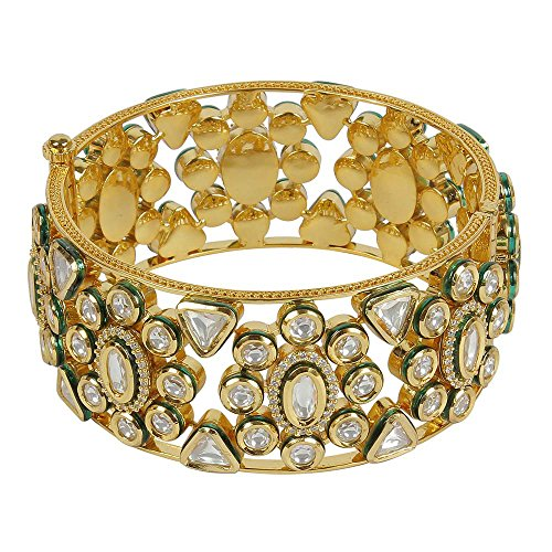 MUCHMORE Great Style Kundan & CZ Gold Tone Diamond Swarovski Elements Indian Bangles Traditional Jewelry (2.6) by Muchmore