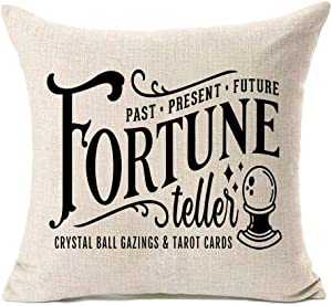 MFGNEH Past Present Future Fortune Teller Crystal Ball Gazings&Tarot Cards Halloween Pillow Covers 18x18,Halloween Decorations Cotton Linen Cushion Covers