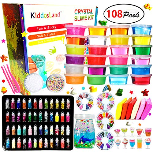 (DIY Crystal Slime Kit - Slime kits for Girls Boys Toys with 48 Glitter Powder,Clear Slime Supplies for Kids Art Craft,Includes Air Dry Clay, Fruit Slice and Tools,Squeeze Stress Relief)