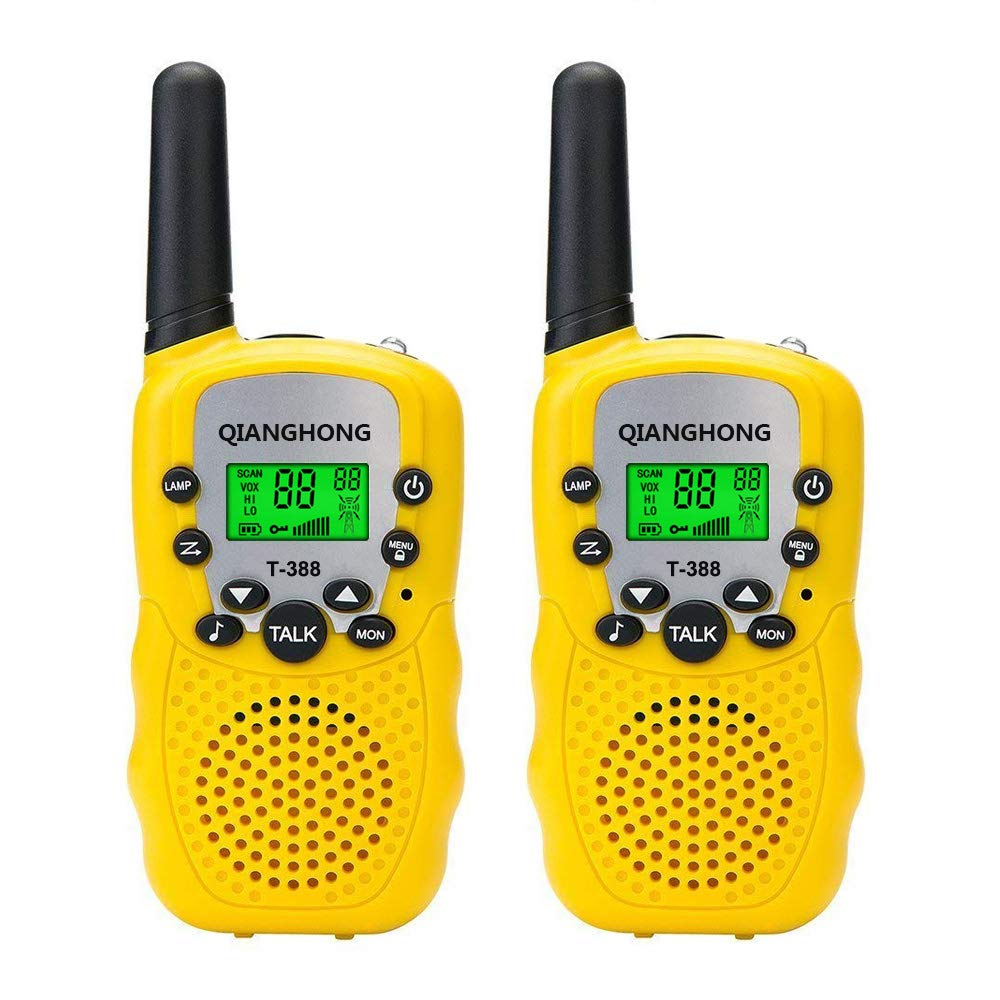 Qianghong T3 Kids Walkie Talkies 3-12 Year Old Children's Outdoor Toys Mini Two Way Radios UHF 462-467 MHz Frequency 22 Channels -1 Pair Yellow by Qianghong (Image #6)