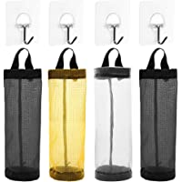 Plastic Bag Holder, AFUNTA 4 Pcs Household Foldable Breathable Hanging Mesh Garbage Bags Organizer with 4 Pcs Hook…