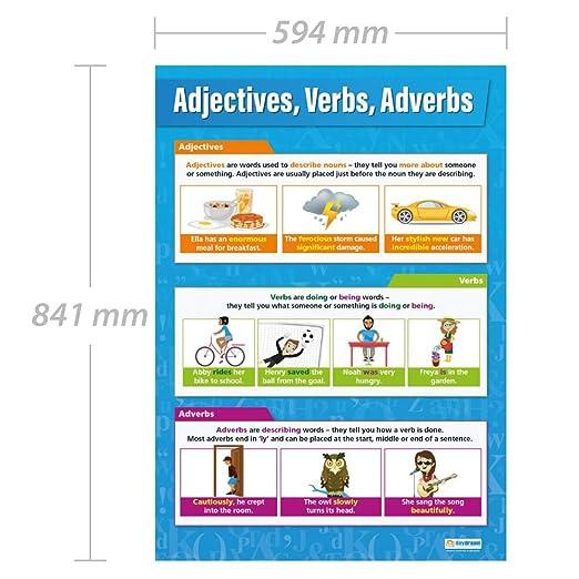 Adjetivos | Posters en aula de idiomas Posters en ingl/és Verbos y Adverbios Papel laminado brillante de 850 mm x 594 mm A1 Gr/áficas de educaci/ón de Daydream Education