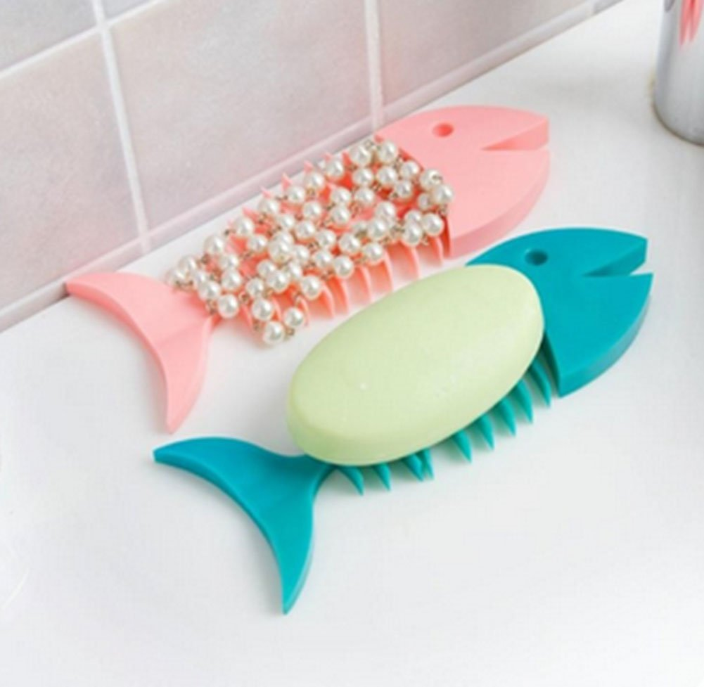 1Pcs Creative Fish Bone Shape Soap Box Bathroom Drain Soap Dish Holder Home D