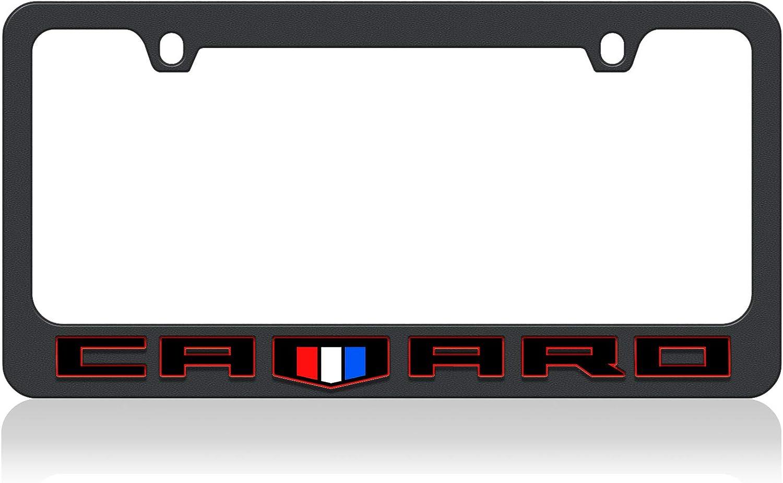 Eurosport Daytona- Compatible with 2018, Chevrolet Camaro Black Word with Shield- Black License Plate Frame