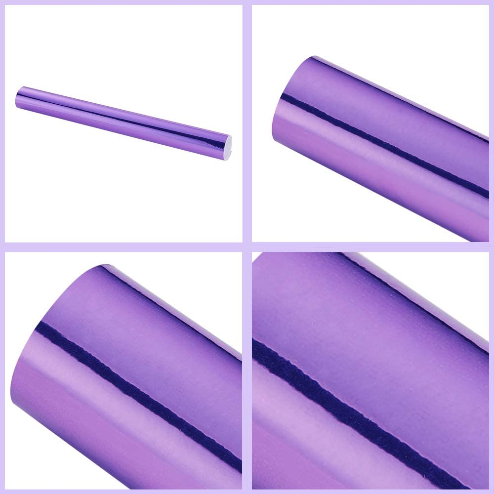 Purple Chrome Mirror Vinyl Wrap High Glossy Self Adhesive Film Decal with Air Release Bubble Free Anti-Wrinkle 59.8 x 7.8