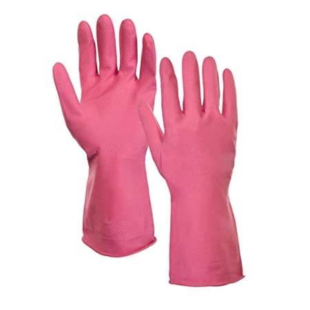 BERRY-Rubber Latex Household Safety Kitchen Gloves for Dish-Washing, Cleaning, Gardening, Gloves for Women (Pink)