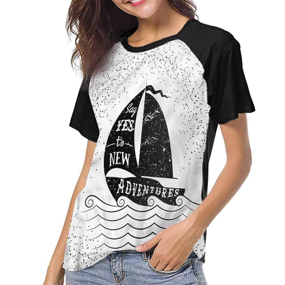 Mens Baseball Short Sleeves,Nautical,Sailing Ship at Sunset S-XXL Short Sleeve Round Neck