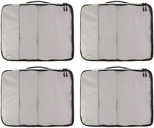 AmazonBasics 4 Piece Packing Travel Organizer Cubes Set - Large, Grey