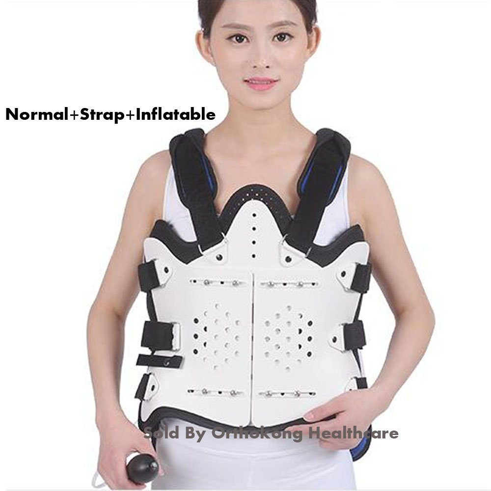 Ober Medical Thoracolumbar Orthosis Adjustable Spine Lumbar Support Thoracic After Fracture Fixation Waist Brace Compression Fracture (Normal+Strap+Inflatable)