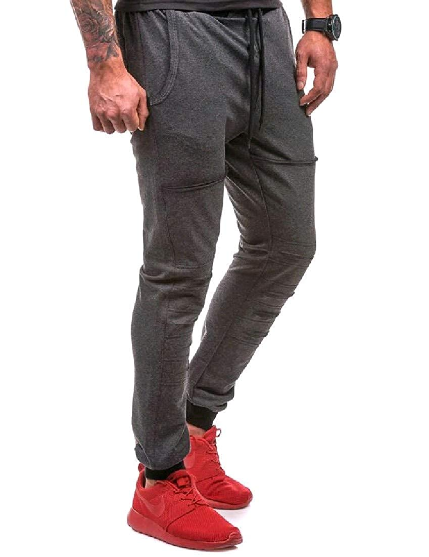 Zimaes-Men Athletic Big Pockets Ripped-Holes Chino Pants Trousers