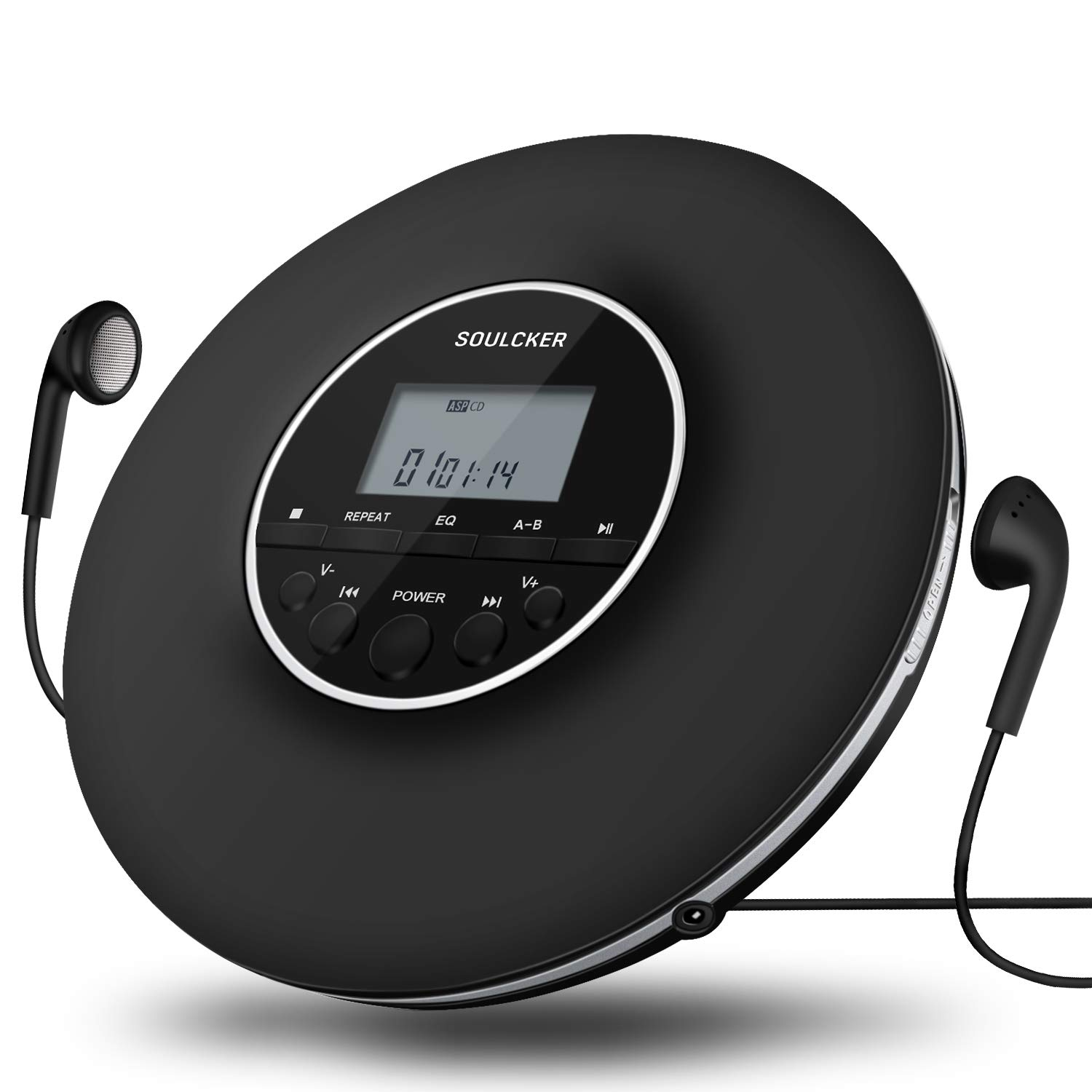 Portable CD Player, Soulcker Personal Compact Disc CD Player with Headphones Jack, Anti-Skip/Shockproof Protection Small Music CD Walkman Players with LCD Display for Adults Students Kids