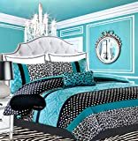 Teen Girls Black Teal Bedding Comforter Damask Leopard FULL QUEEN Bedspread White Aqua Blue Set + Shams + Adorable Throw Pillow + Home Style Brand Sleep Mask Polka Dot Comforters Sets for Girl Kids