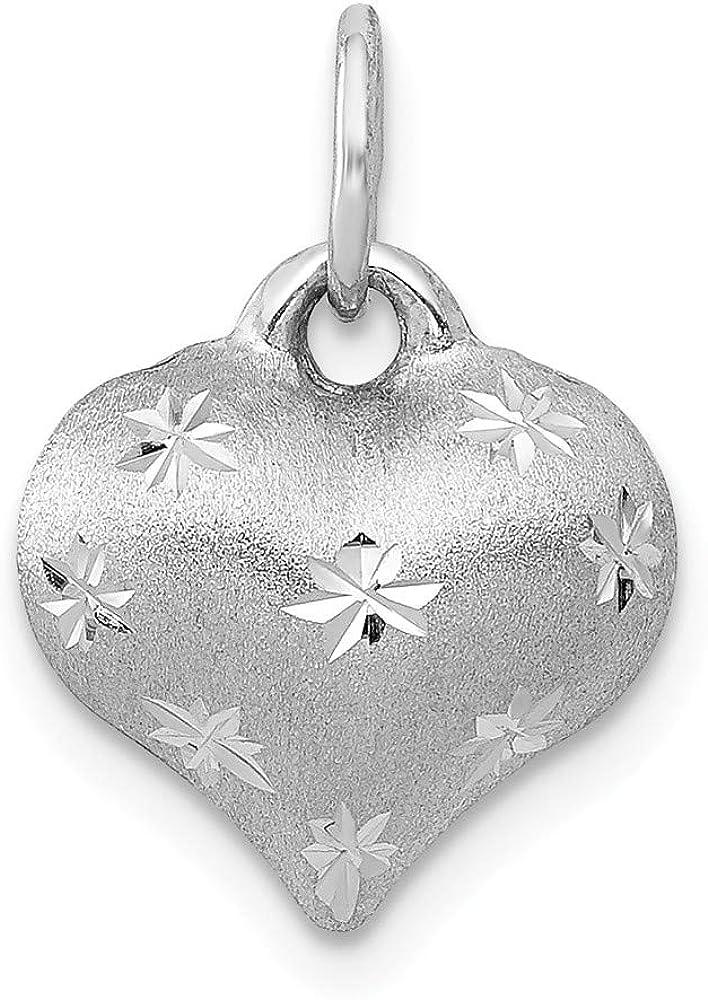 14K Gold Puffed Heart Charm Love Jewelry Pendant 15mm x 11mm