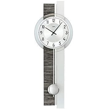 AMS 7439 Pendel Uhr Wanduhr Mit Quarz Uhrwerk Silber Grau