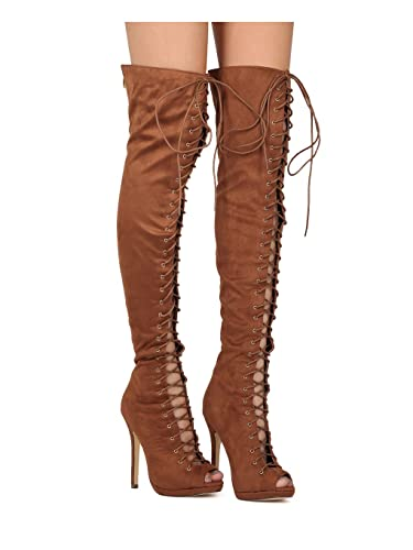 25ebc63c576 Liliana Faux Suede Thigh High Peep Toe Lace Up Stiletto Boot FC02
