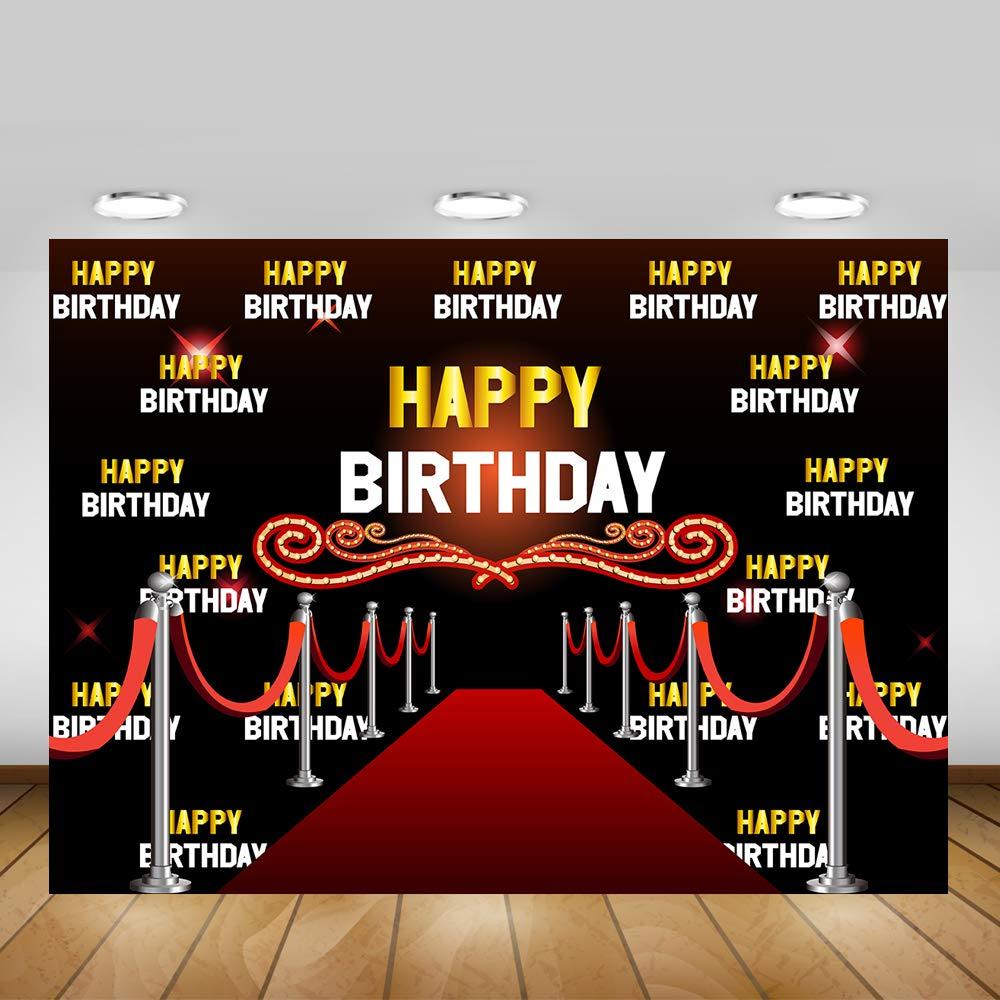 Mehofoto Hollywood telón de Fondo Personalizable con Nombre de Edad Alfombra roja Feliz cumpleaños fotografía Fondo