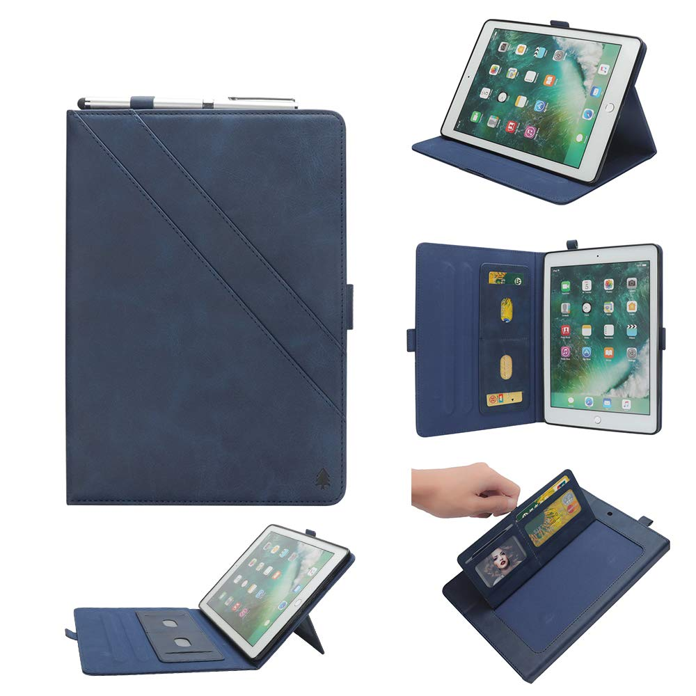 New iPad 12.8'' Case for Men, YiMiky Luxury Book Style Folding Stand Case with Document Pocket Card Slots Folio Smart Case Protective Cover Slim Stand Shell for iPad Pro 12.8 Inch - Dark Blue by YiMiky (Image #1)
