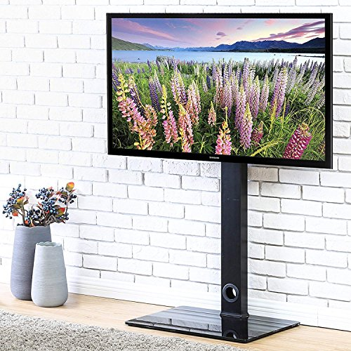 FITUEYES Universal TV Stand Base with Swivel Mount Height Adjustable for 26 to 55 Inch TV TT106001MB