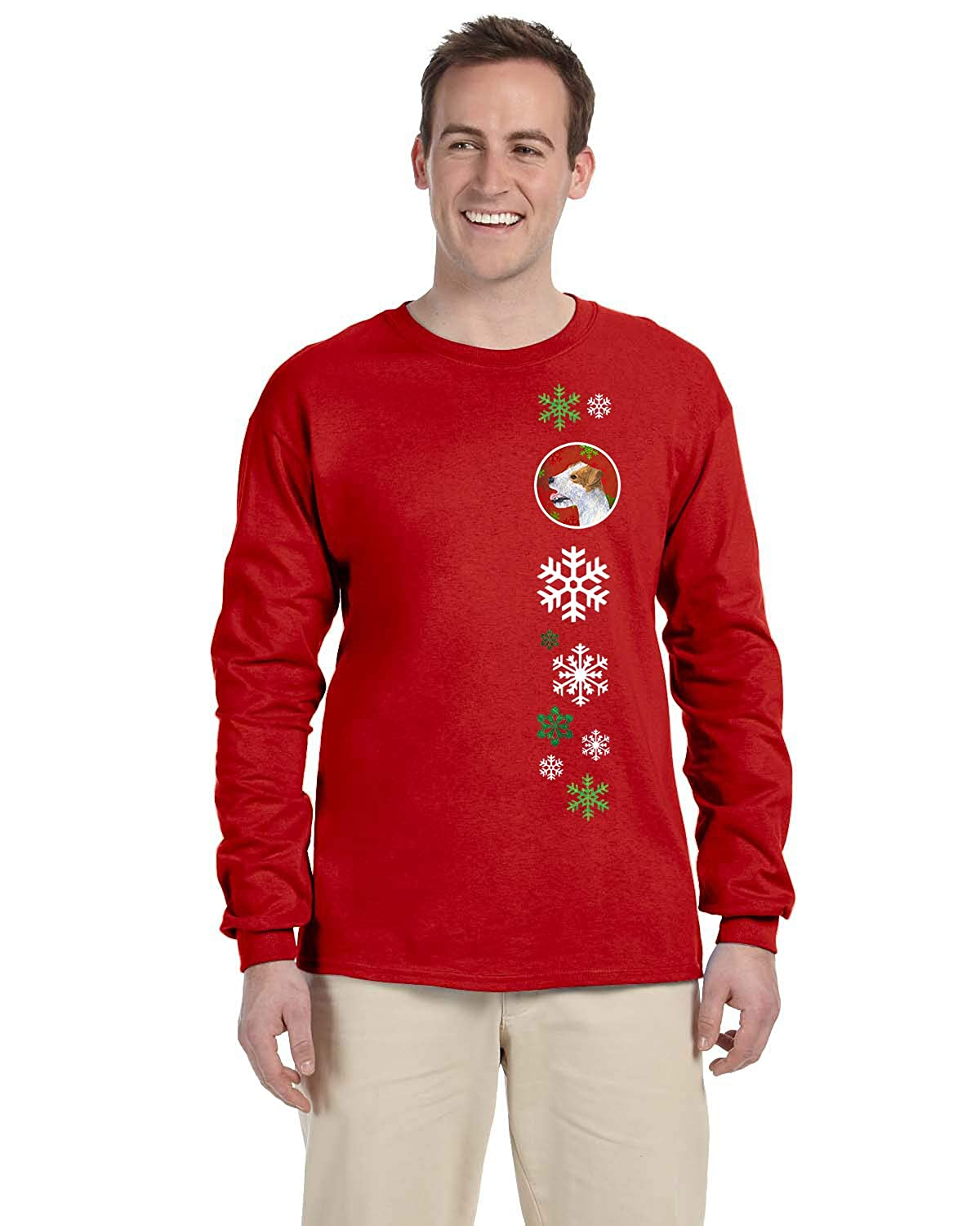 Carolines Treasures SS4711-LS-RED-L Jack Russell Terrier Red Snowflakes Long Sleeve Red Unisex Tshirt Adult Large Multicolor L